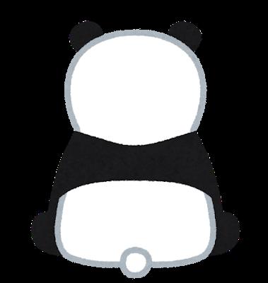 後ろを向いたパンダのイラスト。何だか悲しそう。