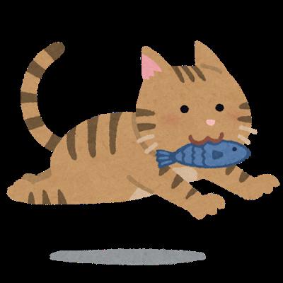 お魚をくわえて走る猫