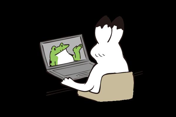 オンラインで通信するカエルとウサギ