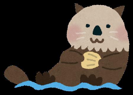 海に浮かんで、貝を食べているかわいいラッコのイラスト