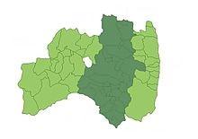 福島県の県の形をかいたイラスト。福島県の形は、オーストラリア大陸の形ににています。