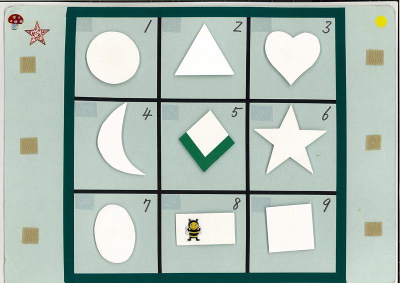縦横7.5センチのマスが3×3で9マス分あるボード。マスには左上から右向きに1,2,3と点字・墨字で番号が振られている。マスの中にはマジックテープがつけられていて、単語カードや形を貼り付けることができるようになっている。9マス枠外にも左右にもマジックテープがそれぞれ3か所付けられていて、ここにも単語カード等を添付可能。
