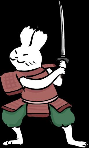 武士の格好をしたウサギ
