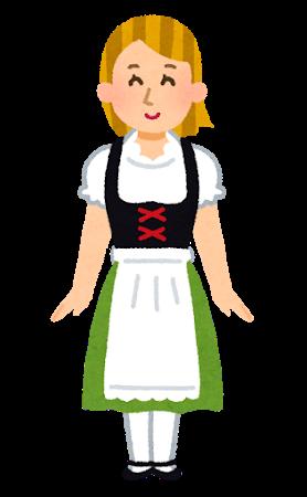 ディアンドルと呼ばれるドイツの民族衣装を着た女性のイラスト