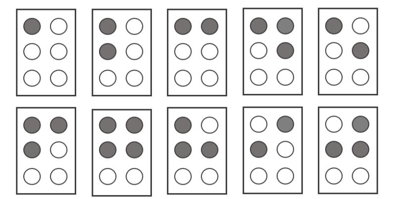 イラスト:「a」「b」「c」「d」「e」「f」「g」「h」「i」「j」の点字