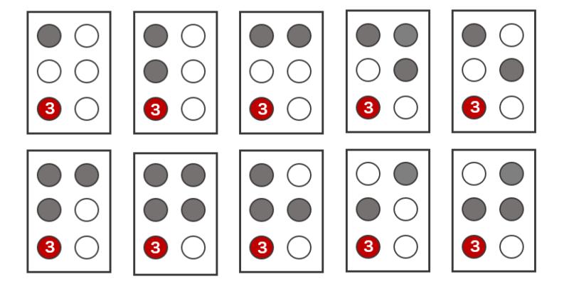 イラスト:「k」「l」「m」「n」「o」「p」「q」「r」「s」「t」の点字