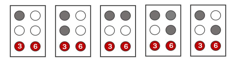イラスト:「u」「v」「x」「y」「z」の点字