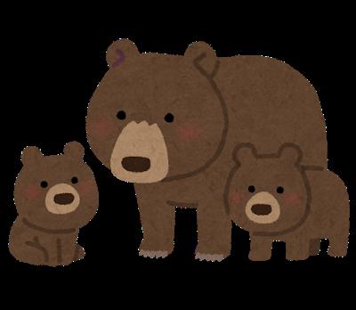 イラスト:二匹の子熊と親熊が集まっている
