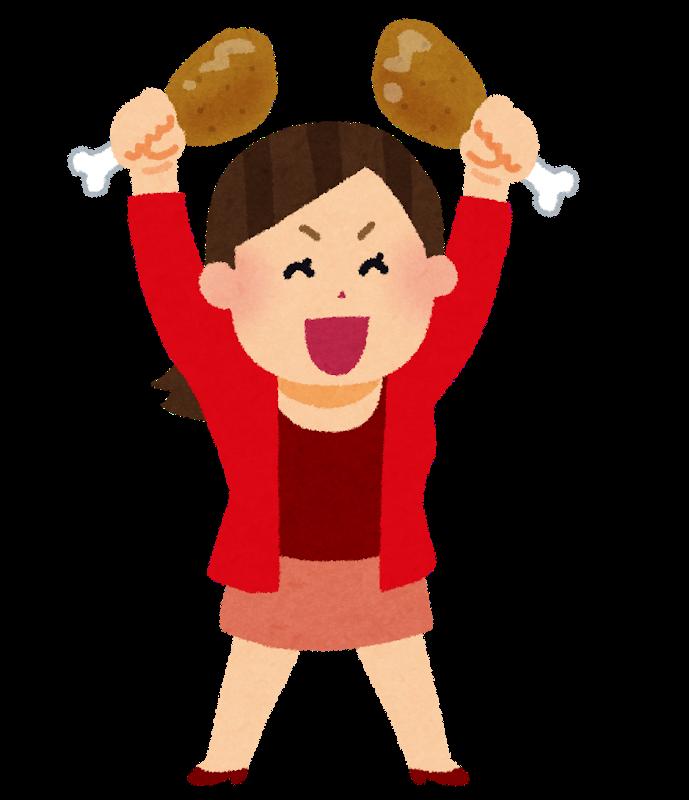 イラスト:元気に笑う肉食系の女性が、お肉をもってノリノリな様子