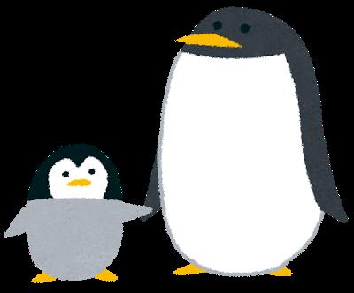 イラスト:親子で手をつないでいる、可愛いペンギン
