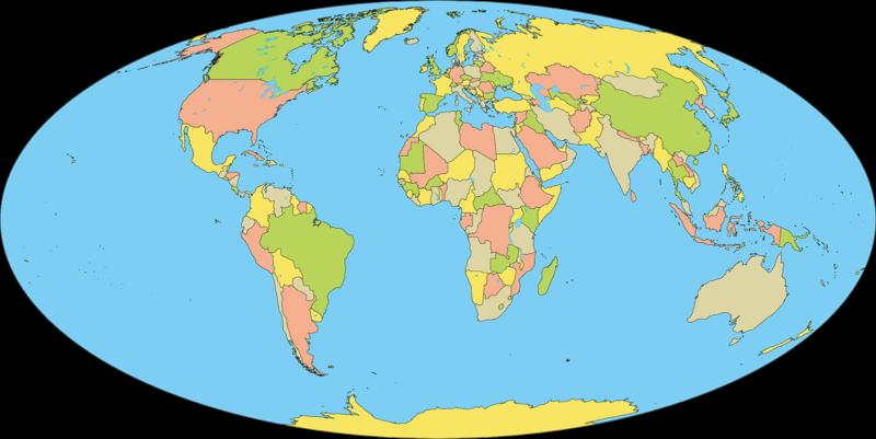 地図:モルワイデ図法を用いた世界地図