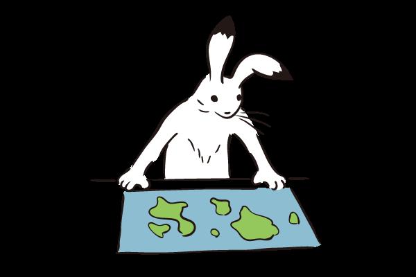 イラスト:地図を見るうさぎ