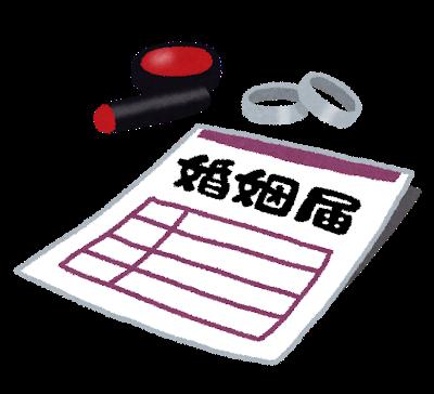 イラスト:婚姻届の書類と、結婚指輪、判子(印鑑)がセットになっている